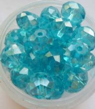 Faceted Beads 8mm x 6mm. Turquoise x 10